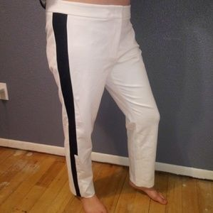 DKNY White/Black Straight Leg Stretch Tuxedo Pants